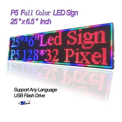 "25""x 6.5"" RGB Full Color P5 LED Sign Programmable Scrolling Message Display"