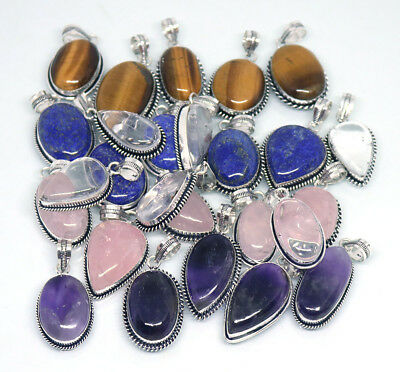 Hot Sale !! 200 PCs Rose Quartz & Mix Gemstone .925 Silver Plated Pendants
