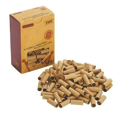 120pcs/box 7MM Pre-rolled Natural UnRefined Cigarette Filter Rolling Paper Tips