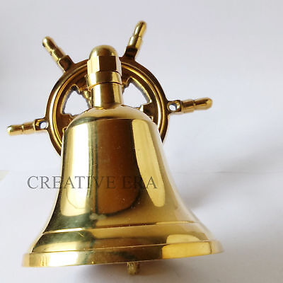 Nautical Marine Shiny Brass Wheel Ship Bell~Wall Hanging Door Bell Home Decor