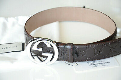 b4e12af7391 Auth Gucci COFFEE GG SILVER Buckle Black Guccissima Belt size 95 38 fits 32-