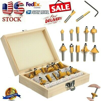 12PCS 1/4''Professional Shank Tungsten Carbide Router Bit Set With Wood Box Case