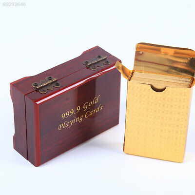 A253 24K Gold Foil Plated Table Game Playing Cards Nice Wood Box Christmas