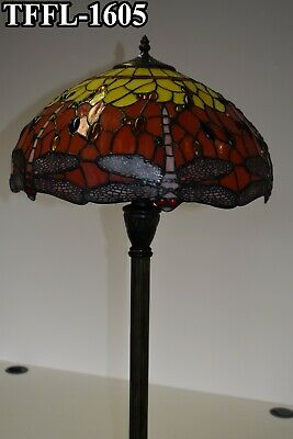 "Antique Style Bed/Living Room Dual Light Floor Lamp 16"" shade TIFFANY Hand craft"
