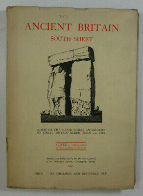 1951 Old Vintage OS Ordnance Survey Ancient Britain South Sheet Map of the Major