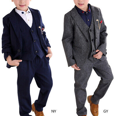 3 Piece Kids Boys Suits Check Wedding Prom Page Boy Baby Formal Party Clothes AU