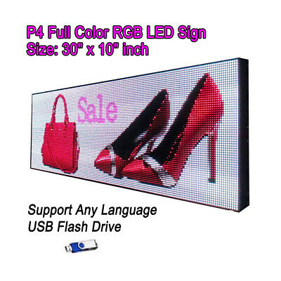 "30""x 10"" P4 Full Color Video HD LED Sign Programmable Scrolling Message Display"