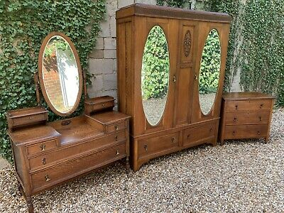 Vintage Jacobean Style Solid Oak Wardrobe Dressing Chest set Delivery Available
