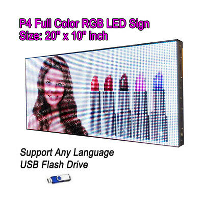 "20""x 10"" P4 Full Color Video HD LED Sign Programmable Scrolling Message Display"