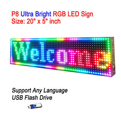 "20""x 5"" P8 Full Color Semi Outdoor LED Sign Programmable Scrolling Message Board"