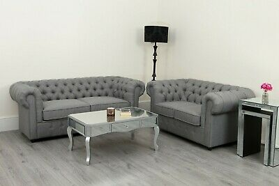 Grey Sofa Chesterfield Linen Fabric 3+2 Seater Suite Set Settee Modern Lounge