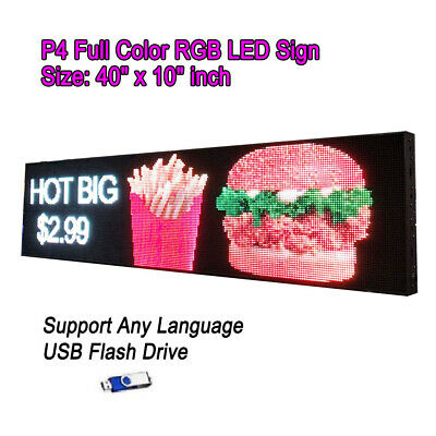 "40""x 10"" P4 Full Color Video HD LED Sign Programmable Scrolling Message Display"