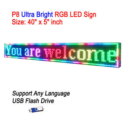 "40""x 5"" P8 Full Color Semi Outdoor LED Sign Programmable Scrolling Message Board"