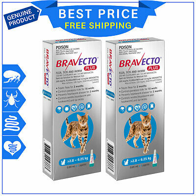 BRAVECTO PLUS 2.8 to 6.25 Kg BLUE 2 Pipettes for Cats Heartworm Flea Control