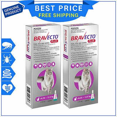 BRAVECTO PLUS 6.25 to 12.5 Kg PURPLE 2 Pipettes for Cats Heartworm Flea Control