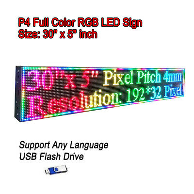 "30""x 5"" RGB Full Color P4 LED Sign Programmable Scrolling Message Display"