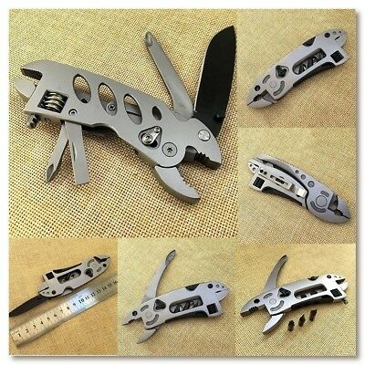 Adjustable Wrench Jaw Screwdriver Pliers Knife Survival Gear Jeep Multi Tool Set