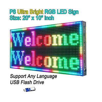 "20""x10"" P8 Full Color Semi Outdoor LED Sign Programmable Scrolling Message Board"