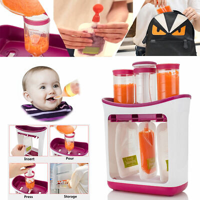 Baby Weaning Food Puree Fruit Maker Squeeze Station Reusable Squeezed Pouches