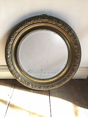 Vintage Round Mirror With Brass Embossed Frame