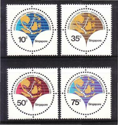 Singapore 1980 Asean Submarine Cable Network Comp. Set Of 4 Stamps In Mint Mnh
