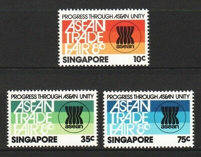 Singapore 1980 Asean Trade Fair Comp. Set Of 3 Stamps Sc#360-362 In Mint Mnh