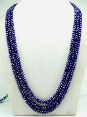 "3 Strand Blue Sapphire Dyed Faceted Rondelle Gemstone Beads 5-7.5mm 18"" Strnd"