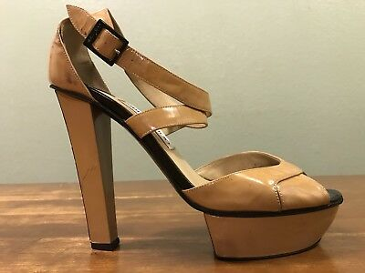 Jimmy Choo Platform Peep Toe Strappy Heels Size EUR 38.5 US 8.5 Made In Italy