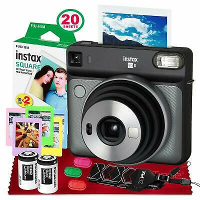 Fujifilm instax SQUARE SQ6 Instant Film Camera (Graphite Gray) + 20 Sheets
