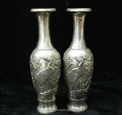 19.5cm Collectable China Old Silver Handmade animal crane bird Vase Sculpture
