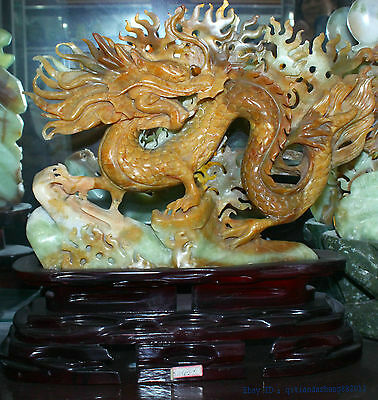 Chinese 100% Natura xiuyu Jade Hand engraving lucky succeed dragon beast statue