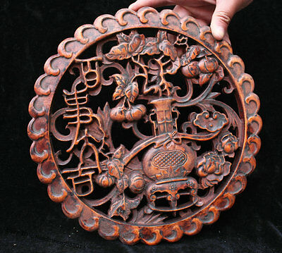 Chinese Huanghuali Wood Hand-Carved lucky flower vase Set Wall hanging