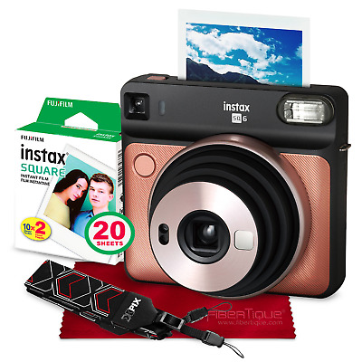 Fujifilm instax SQUARE SQ6 Instant Film Camera (Blush Gold) + 20 Sheets