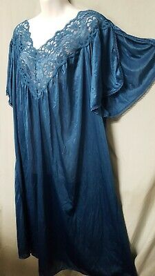 """Ventura  Black  Nightgown Long With Lace Short Sleeve Plus Size  5X 70/"""" Bust"""