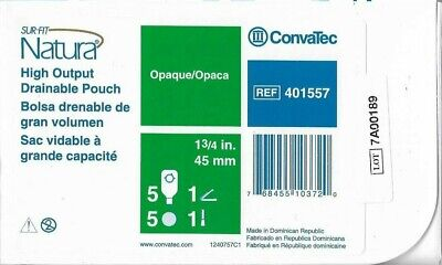 Two (2) Boxes ConvaTec 401557 Sur-Fit Natura High-Output-Pouch, 1 3/4 in, 45 mm
