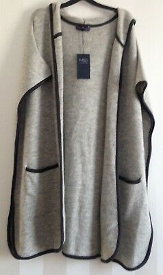 76a7ee91ea1544 Size Large M S Collection Stunning Grey Sleeveless Hooded Long Cardigan BNWT