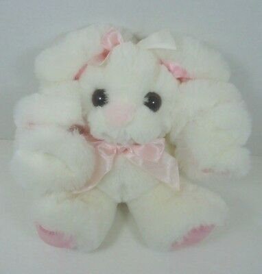 """Dayton Hudson White Bunny w Curly Ears Plush 9"""" Pink Bow Squiggles Twistanbull"""