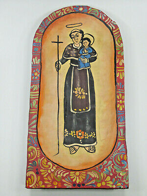 Hand painted wood dough bowl with St. Anthony, mexican folk art