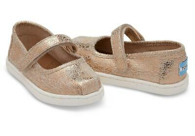 03264f2cbdd5a TOMS LENNY SNEAKERS Rose Gold Crackle Foil Youth Girls Size 2.5 ...