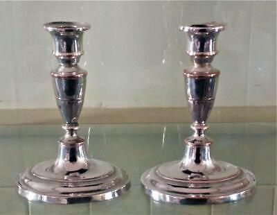 Pair of Elegant Georgian Sheffield Silver Plated Adam Style Candlesticks C 1780+