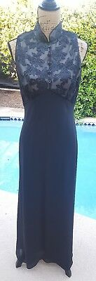 Vintage 80's Inspired Ladies 12 Black Sleeveless Long Formal Dress