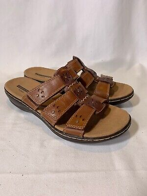 f82f92d6aedb CLARKS LEATHER TRIPLE Strap Slides Leisa Spring Brown Multi 8M NEW ...