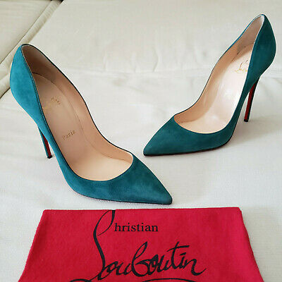 6f8cbcf26af CHRISTIAN LOUBOUTIN SO Kate 120 Forest Green Suede Pump Heels 39.5