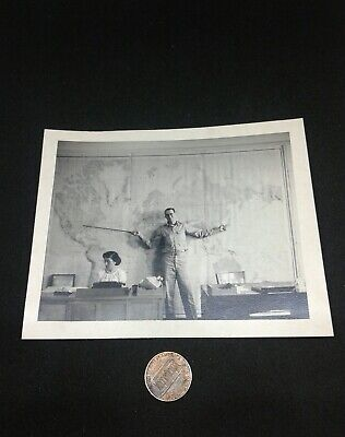 Vintage 1950's Photo U.S. Military Officer World Map With Secretary Posing Japan