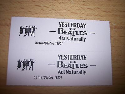 """Jukebox Title Strip 7/"""" 45RPM Record Yesterday r 2 Beatles Act Naturally"""