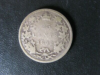 25 cents 1892 Canada Queen Victoria silver coin c ¢ quarter dollar G-4