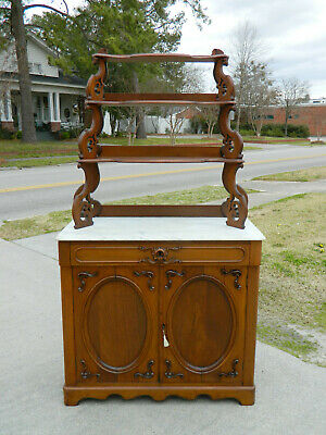 Walnut Victorian Marble Top Cabinet with Display Shelves 1865
