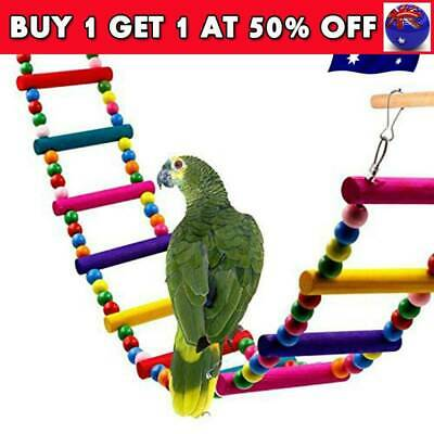 Wooden Hanging Pet Bird Parrot Ladder Macaw Cage Swing Shelf Bites Play Toys CB