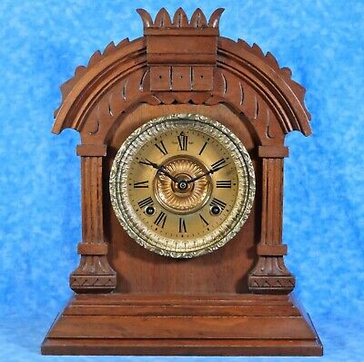 Antique Ansonia TUNIS Walnut Mantel Clock- 8 Day Key Wind Gong Chime- Works Well