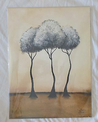 "MIRAGE by BRITT HALLOWELL numbered artwork flat print - three trees - 16"" X 12"""